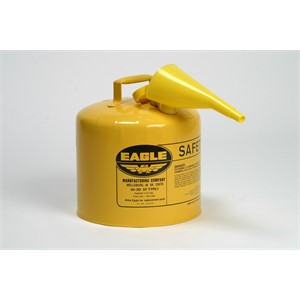 Picture of UI-50-FSY Eagle Type 1 Safety Can,includes/F-15 Funnel,Yellow,5 gal