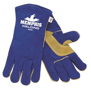 Picture of 4500XXL MCR Blue Select Leather Welder Gloves Sewn KEVLAR,XXL
