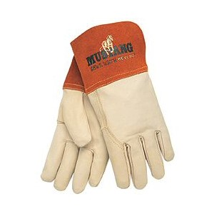 """Picture of 4950L MCR """"Mustang"""" MIG/TIG Welder's Gloves,Sewn KEVLAR,Wing Thumb and 4"""" Split Leather,L"""