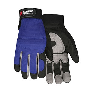 Picture of 905L MCR Fasguard Gloves,SYNTH Leather,Black Palm/Gray Patch Palm W/Blue Back,Velcro Wrist,L