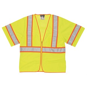 """Picture of WCCL3LX4 MCR Class 3,Poly,Mesh Safety Vest,4 1/2"""" Yellow/Silver Stripe,Orange"""