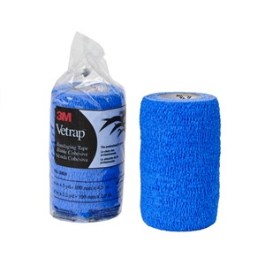 "Picture of 51115-04860 3M Vetrap Bandaging Tape Pack 1410 Blue,4""x5yd,100 Roll/Case"