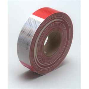"Picture of 51138-67533 3M Diamond Grade Conspicuity Marking Roll 983-32 (PN67533) Red/White,2""x 150ft"