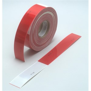 "Picture of 51138-67636 3M Diamond Grade Conspicuity Marking Roll 983-32 (PN67636) Red/White, 2""x 50yd"