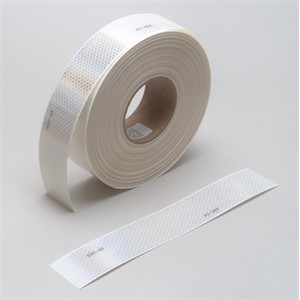 "Picture of 51138-67639 3M Diamond Grade Conspicuity Marking 983-10 White,(2""x 12""cuts),2""x 50yd,1"
