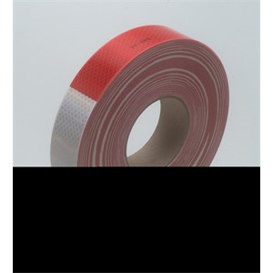 "Picture of 51138-67764 3M Diamond Grade Conspicuity Marking Roll 983-32 (PN67764) Red/White,1 1/2""x 150 feet"