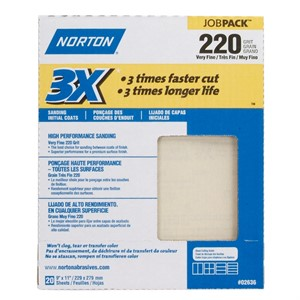 "Picture of 076607-02636 Norton Sandpaper,3X High performance sand paper sheets Job Pack,220 Grit,9""x11"""