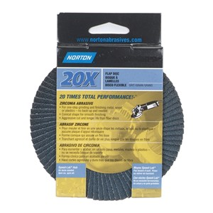 "Picture of 076607-03212 Norton FLAP DISCS Norzon 20X,4-1/2""x5/8-11 HUB,60 Grit"