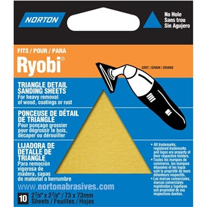 Picture of 076607-49284 Norton DETAIL PROFILE For Ryobi,Triangle Sheets,Adhesive Back,Coarse,60 Grit