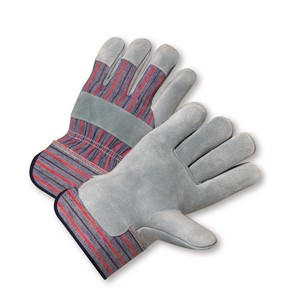 Picture of 558/M West Chester Shoulder Leather Palm Rubberized Safety Cuff Glove - Blue/Red Fabric: Medium